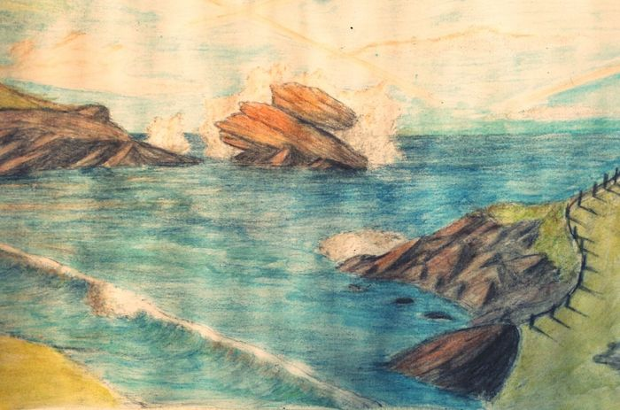 Drawing France Rock Sky And Clouds Landscape Ocean Zaap'sdraws