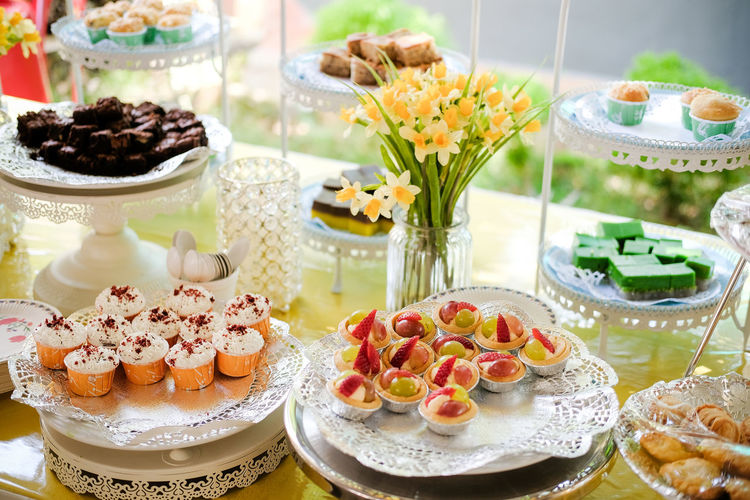 High Angle View Of Afternoon Tea Cakes
