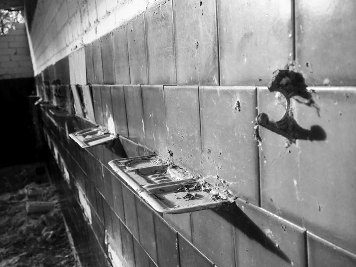 .. in bathroom Black & White Hanger Abandoned Abandoned Camp Bathroom Soap Holders Tiles EyeEmNewHere