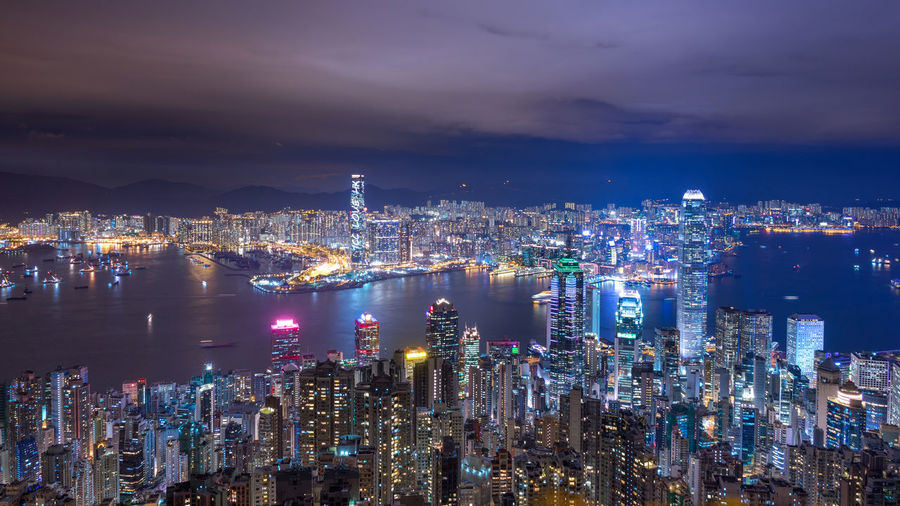 Hong Kong skyline Hong Kong Hong Kong City Victoria Harbour Architecture Building Building Exterior Built Structure City Cityscape Crowd Crowded Financial District  High Angle View Hong Kong Island Illuminated Kowloon Light Modern Mongkok Night Sky Skyscraper Tall - High