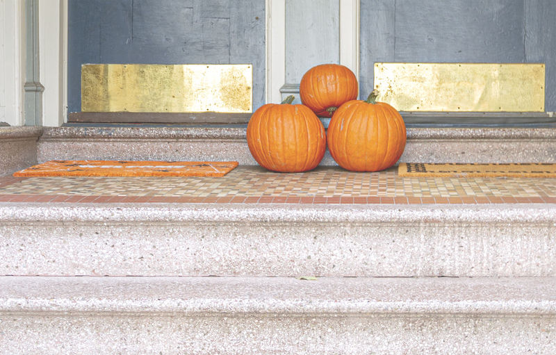 Orange pumpkins on steps