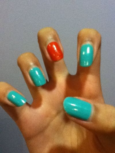 Yay Nails Coral Turquoise
