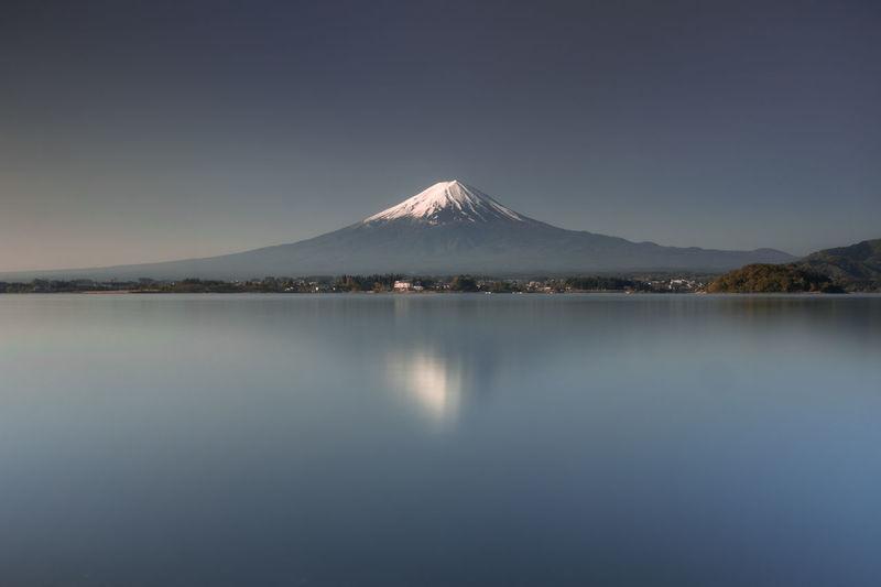 Scenic view of lake kawaguchi and mt fuji