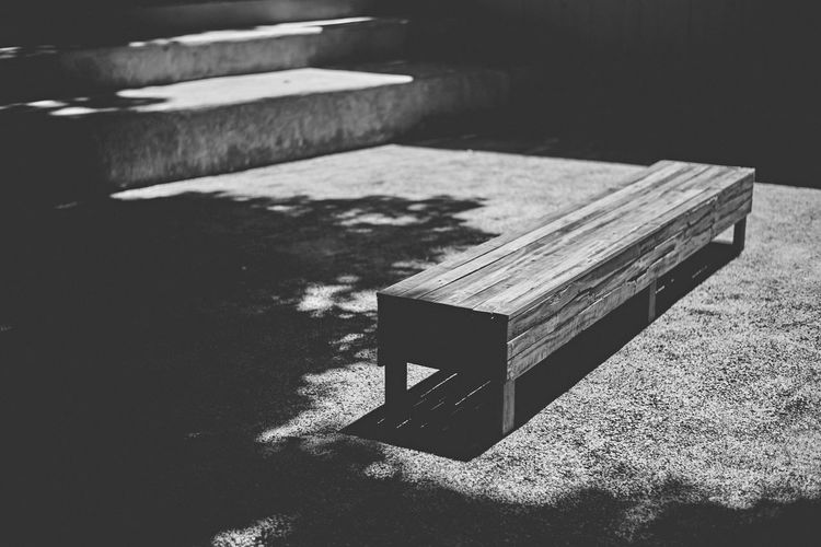 High angle view of bench on table