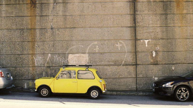 Manayunk Mini MiniCooper Minicar Yellow Yellowcar Film Film Photography Street Photography Thule