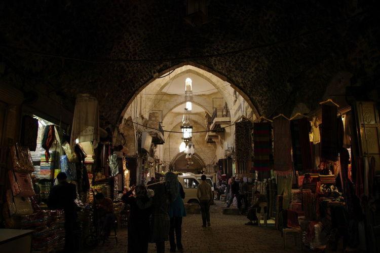 Market Old Town Aleppo Aleppo_syria Arch Architecture Illuminated Indoors  Night People Suq