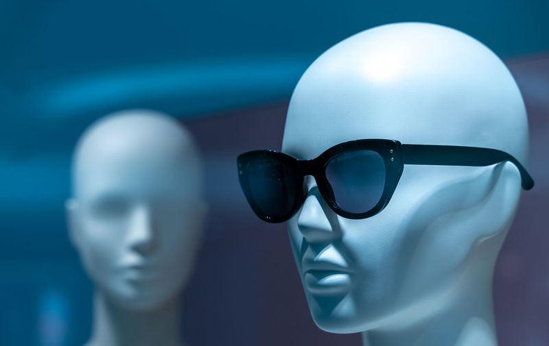 Close-up of sunglasses on mannequin