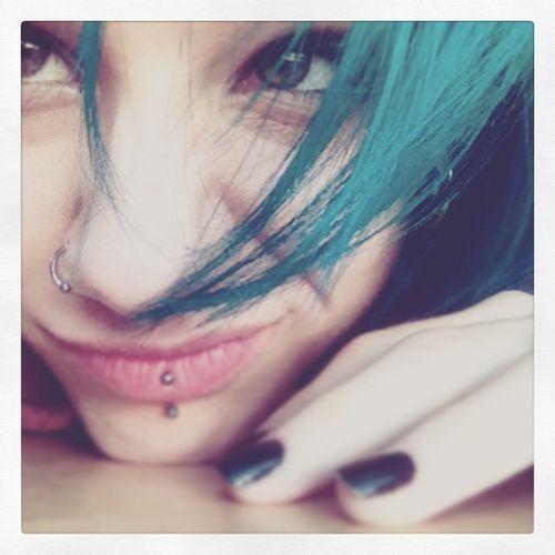 Self Portrait Nose Piercing Selfie Lip Piercing (; ThatsMe Blue Hair Weirdo Awesome Sauce