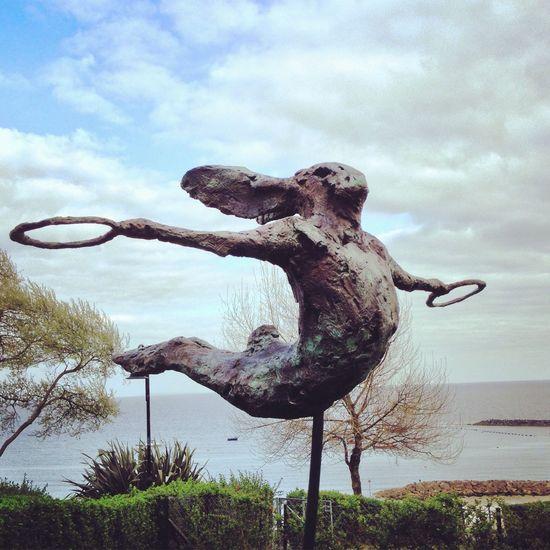 Hare Rabbit Gymnast  Gymnastics Trapeze Trapeze Artist Sea Seaside British Seaside Lyme Regis Sculpture Rings Outdoors Sky Nature Statue