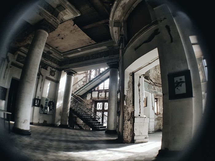 Abandoned Cinema Apollo In Tbilisi Architecture Architectural Column Staircase Abandoned Places Abandoned Buildings Abandoned Built Structure Indoors  Architecture No People Day