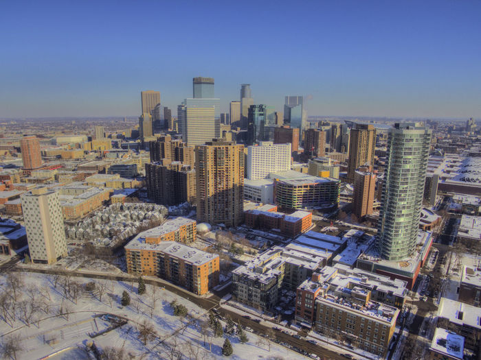 Downtown Minneapolis Skyline Winter Architecture Building Exterior Built Structure City Cityscape Clear Sky Day Downtown District High Angle View Modern No People Outdoors Sky Skyscraper Sun Tall