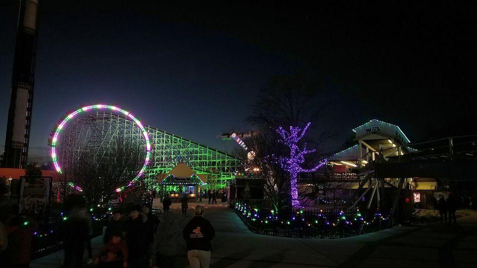 Holiday in the Park Six Flags America Night Illuminated Outdoors Sky Celebration Christmas Lights Holiday Park Theme Park Night Roller Coaster Wild One Mardi Gras EyeEmNewHere