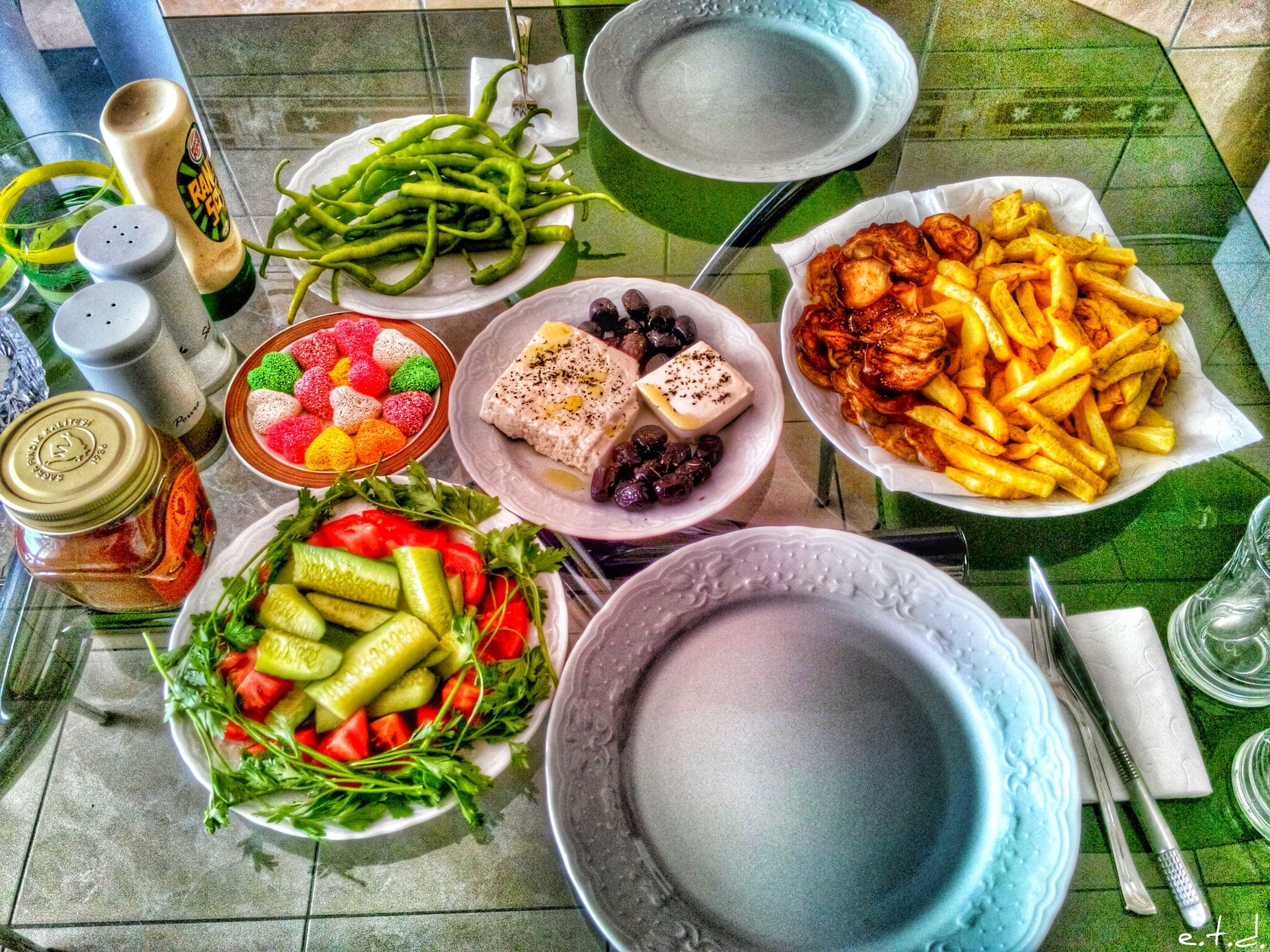 food and drink, food, freshness, healthy eating, indoors, high angle view, table, plate, still life, bowl, ready-to-eat, vegetable, variation, meal, directly above, noodles, serving size, no people, spoon, meat