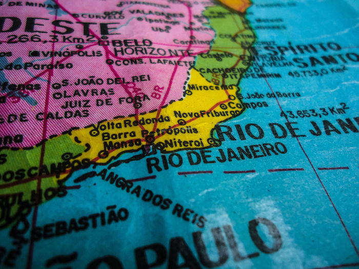 Rio De Janeiro Text Map No People Close-up Backgrounds Selective Focus Travel Western Script Full Frame Communication Multi Colored High Angle View Exploration Indoors  Tourism Travel Destinations