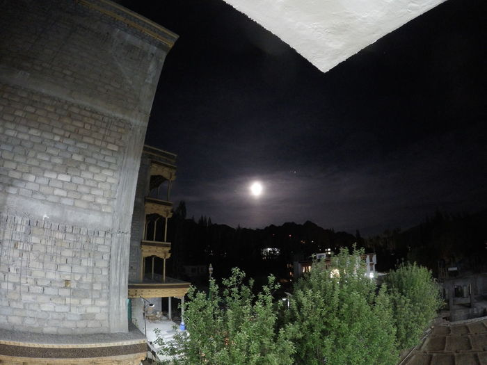 the moon and the mountain Building Exterior Built Structure Illuminated Ladakh Moon Mountain And Moon Nature Night Night Fall No People Sky Tree