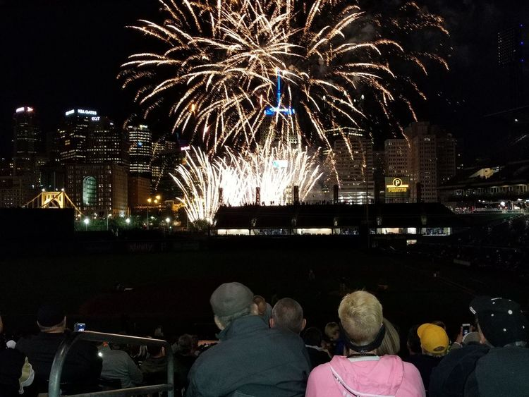 Celebration Event Multi Colored Excitement Fan - Enthusiast Exploding Spectator Baseball Stadium Pittsburgh Pirates PNC Park Pittsburgh Pennsylvania Large Group Of People Motion Cityscape Sky City People Outdoors Illuminated Firework - Man Made Object Firework Display Arts Culture And Entertainment Night Celebration Event Stories From The City