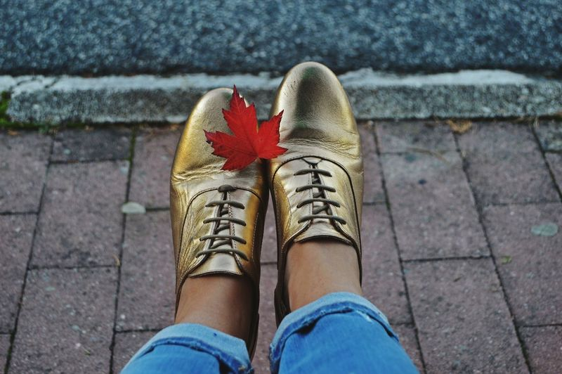 Low section of woman wearing golden shoes