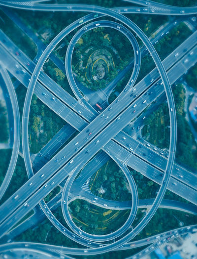 Aerial view of highways in city