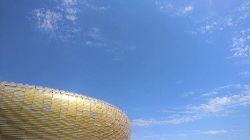 Clear Sky Building Building Exterior Stadium Gold Colored Upward View Illuminated Blue Modern Sky Shining Golden Exterior