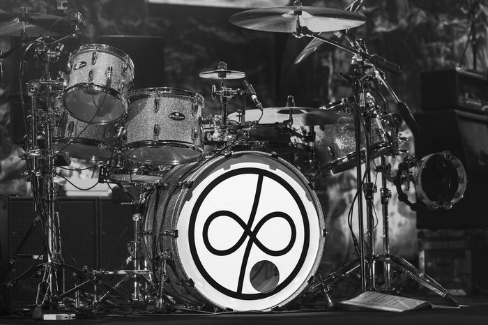 Drums. Deep Purple Arts Culture And Entertainment Black And White Close-up Cymbal Drum - Percussion Instrument Drum Kit Drums Indoors  Music Musical Instrument No People
