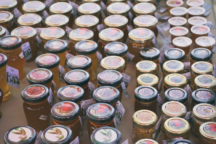 High angle view of preserves in jar for sale at market