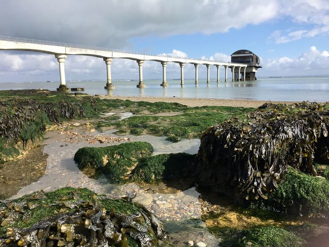 Water Built Structure Architecture Sea Connection Bridge - Man Made Structure Sky Cloud Rock - Object Pier Shore Nature Bridge Scenics Moss Cloud - Sky Engineering Day Ocean Tranquil Scene Isleofwight Bembridge