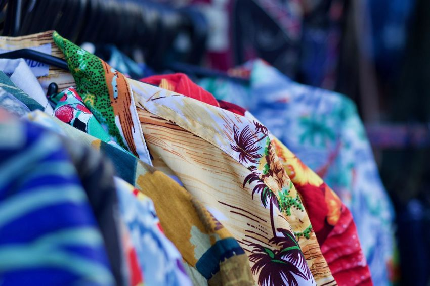 A collection of Hawaiian shirt Aloha Shirt Colours Fashion Hanging Out Hawaii Hawaiian Shirt MENS HAWAIIAN SHIRT Portobello Market Shirts Shirts Of EyeEm Textile Industry Textured  Choice colour of life Fashion Photography For Sale Holiday Shirt Holiday Shirts Market Multi Colored Multi Coloured Shirt Stamps Textile Traditional Clothing