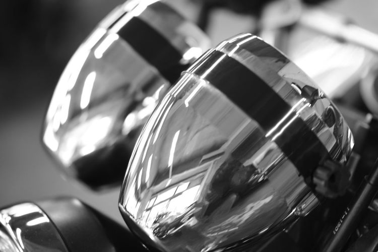 Black & White Chrome Finish Motorcycle's Equipment Reflection Close-up Day Focus On Foreground Lighting No People Old-fashioned Outdoors Retro Styled
