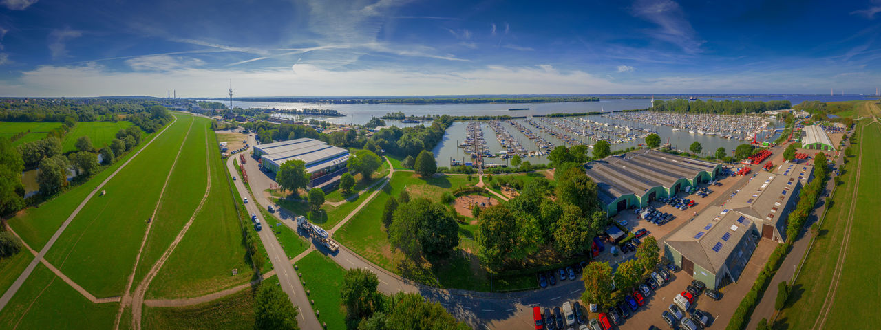 Elbe River Hamburger Hafen Panorama Panorama Foto Sailboat Harbor Schleswig-Holstein Sky And Clouds Wedel Schulau Wedeler Au Birds Eye Photography Birds Eye View Dike Dikeroad Elbe Harbor View Horizon Over Land Meadow Schleswig Holstein View From Above Wedel