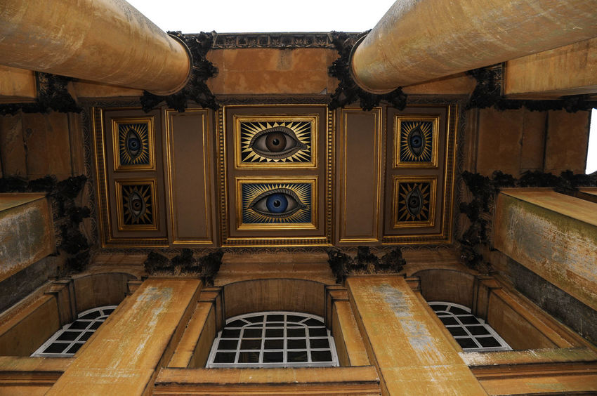 Architectural Feature Architecture Art Building Exterior Ceiling Columns Destination Estate Eyes Frame Future Gilded Gold Look Motif  Mural See Seeing Sight Symbol Travel Vision Watching Windows