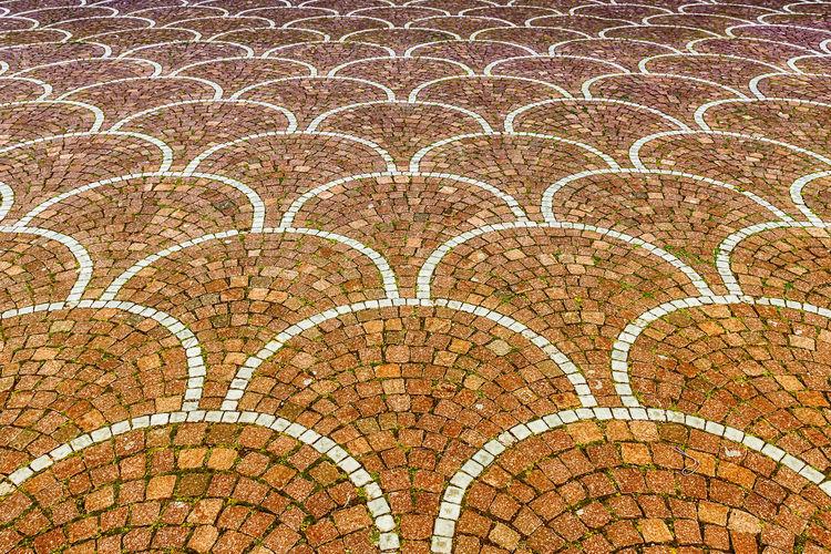 Full Frame Shot Of Sampietrini Pavement Outside Palazzo Dei Congressi