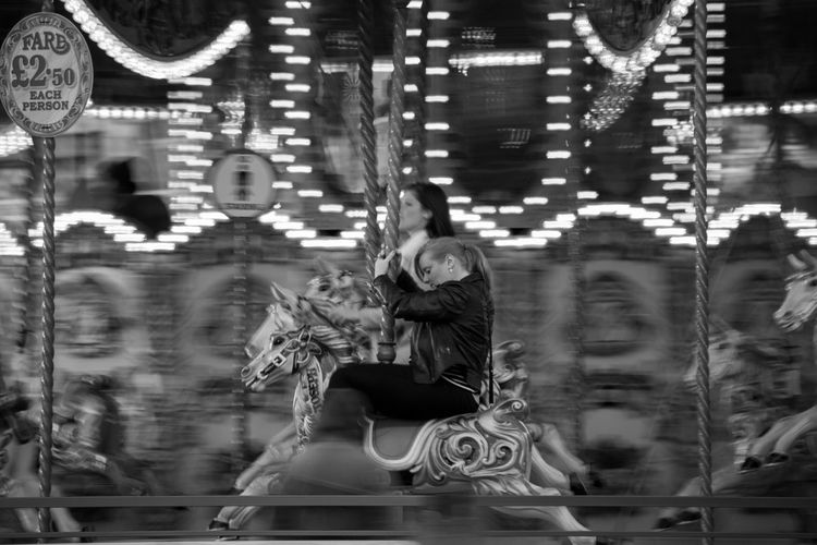 Panning Blackandwhite London Movement Streetphotography Real People Carousel Horses One Person Motion Carousel Blurred Motion First Eyeem Photo