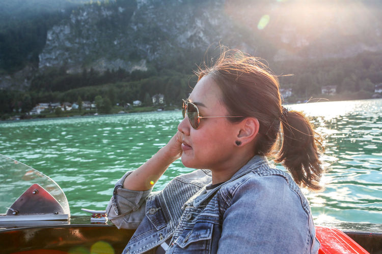 Boat ride in Wolfgangsee Close-up Headshot Lake Leisure Activity Outdoors Portrait Sunglasses Sunlight Vacations Water