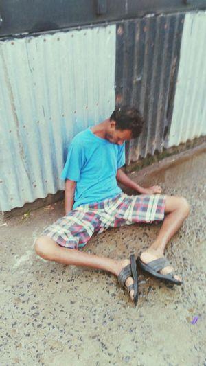 An Over Drunked Man At Platform