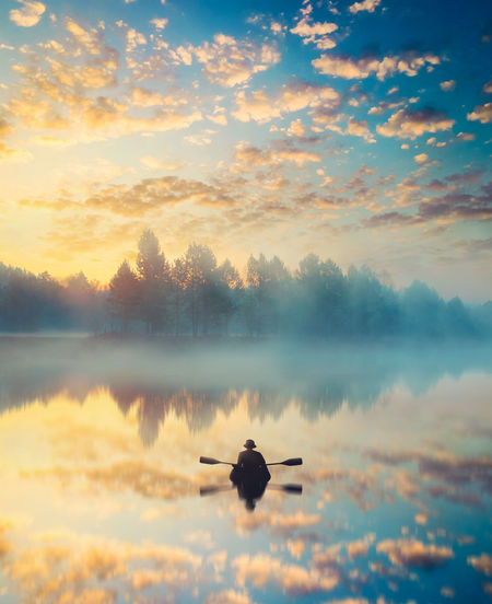 Animal Themes Beauty In Nature Bird Cloud - Sky Day Lake Nature Nautical Vessel No People Outdoors Scenics Silhouette Sky Sunset Tranquil Scene Tranquility Tree Water Perspectives On Nature