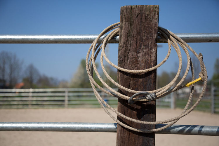 Clear Sky Close-up Day Horse Metal Nature No People Outdoors Protection Railing Riding Rodeo Rope Safety Sky The Great Outdoors - 2017 EyeEm Awards