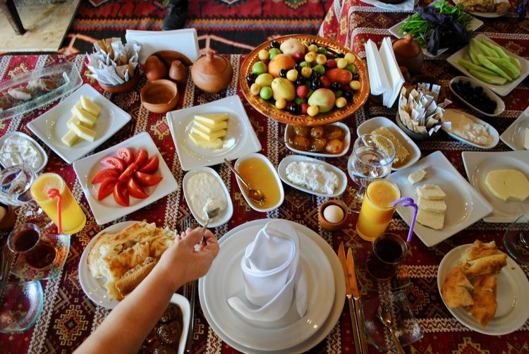 High angle view of breakfast on floor