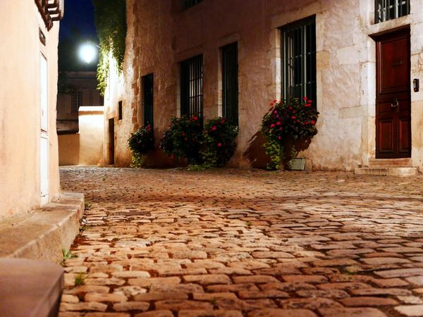Paved Road At Night Beaune France