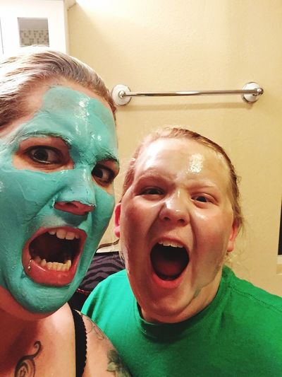 Real People Shouting Mother & Daughter Relaxing Spa Treatment