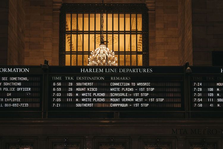 Train times and Harlem trains departure board inside Grand Central Terminal, a world-famous landmark and transportation hub in Midtown Manhattan, New York. New York New York City USA United States Travel Tourism Harlem  Grand Central Terminal Grand Central Station Timetable Departure Harlem Line Low Angle View Text Information Communication Travel Destinations Everyday Lives No People Indoors  Arrival Departure Board NYC Trains Train Station Information Medium
