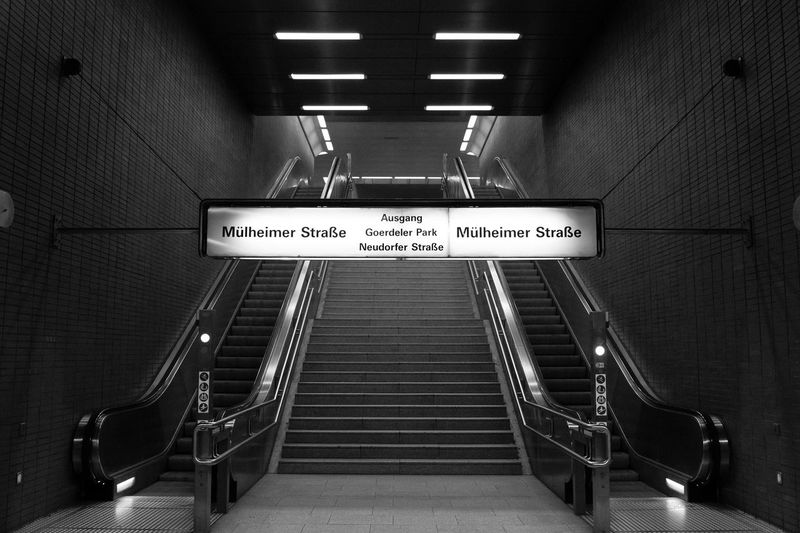 Direction Illuminated Communication Sign Text Indoors  Subway Subway Station Architecture Steps And Staircases Staircase Transportation No People Underground Walkway Light Underpass Monochrome Blackandwhite Black And White Canon Canonphotography Germany German Deutschland monochrome photography Duisburg