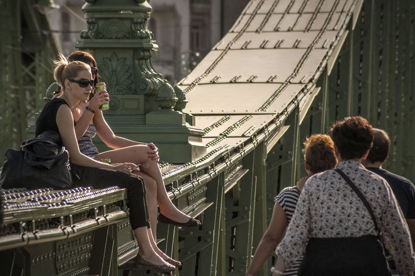 Adult Adults Only Bridge In Budapest Bridge In The City Cityscape Day Girls Hot Summer Day Outdoors People Streetlife Sunny Days Sunny Days . ☀ The City Light Women Summer In The City