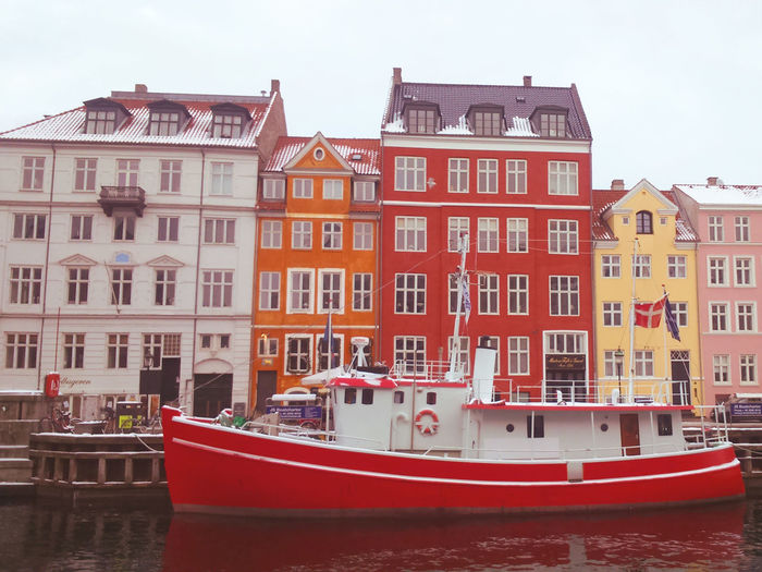 Boat Canal Colourful Houses Copenhagen Copenhagen, Denmark Copenhague Red Red Boat Red Boat House Waterfront