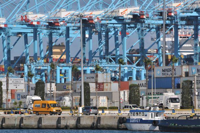 Algeciras Blue Color Container Cranes Harbor Day España Industry No People