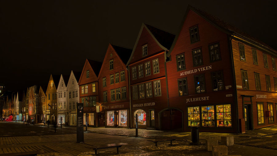 Night on Bryggen Building Exterior Architecture Built Structure Building Night City Illuminated Window No People Sky Nature Residential District Street Outdoors House Row House In A Row Façade Text Bryggen