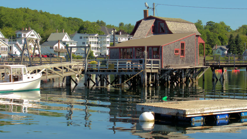 Boothbay Harbor Maine Architecture Bridge - Man Made Structure Building Exterior Built Structure Clear Sky Day Mode Of Transport Moored Nature Nautical Vessel No People Outdoors River Sky Transportation Tree Water Waterfront