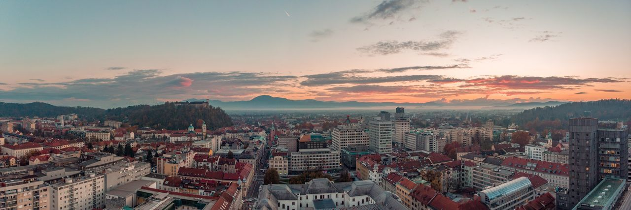 Panoramic view of Ljubljana. Building Exterior Sky Architecture City Cityscape Built Structure Cloud - Sky Panoramic Sunset Aerial View