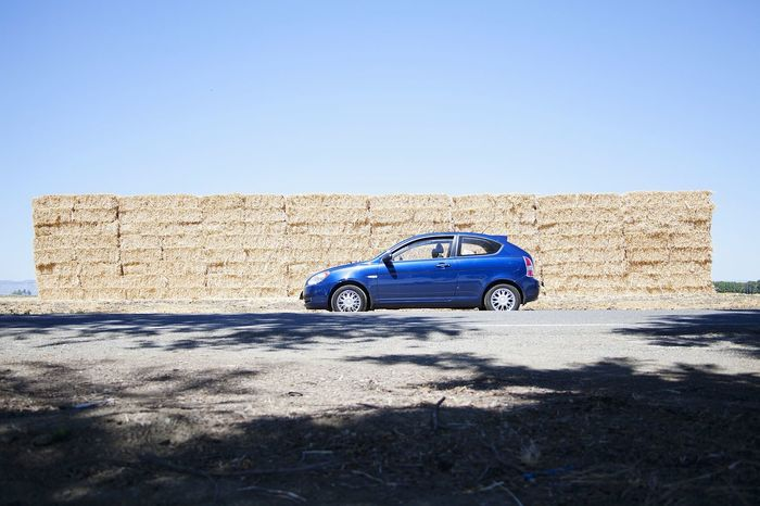 Traveling Roadtrip Minimalism Car Blue Sky Hay Bales Hatchback Theroadlesstraveled Feel The Journey