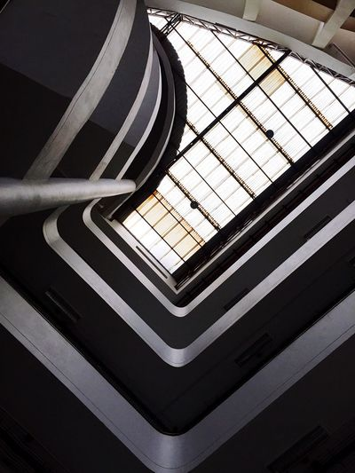 Indoors  Pattern No People Architecture Built Structure Day Sunlight High Angle View Ceiling Design Metal Transportation Close-up Nature Railing Shadow Shape Architectural Feature Skylight Directly Below
