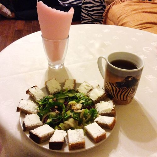 Good Evening Dinnertime Yummy♡ Love Food, Love Life.  Salad Little Cute Sandwiches :3 Tea Awesome Delicious Food